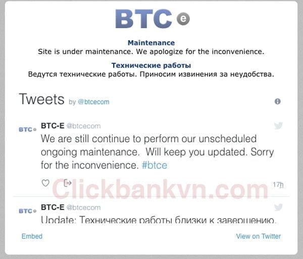 Btc-e.com không vào được, thông báo bảo trì, sàn giao dịch bitcoin