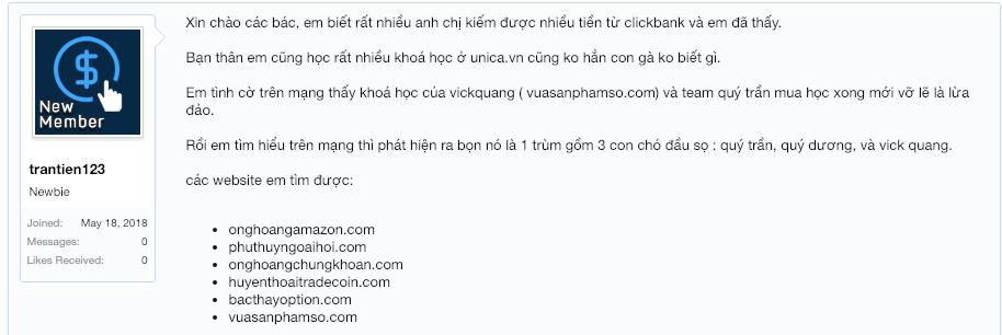 quý trần lừa đảo, clickbank lừa đảo, MMO việt nam